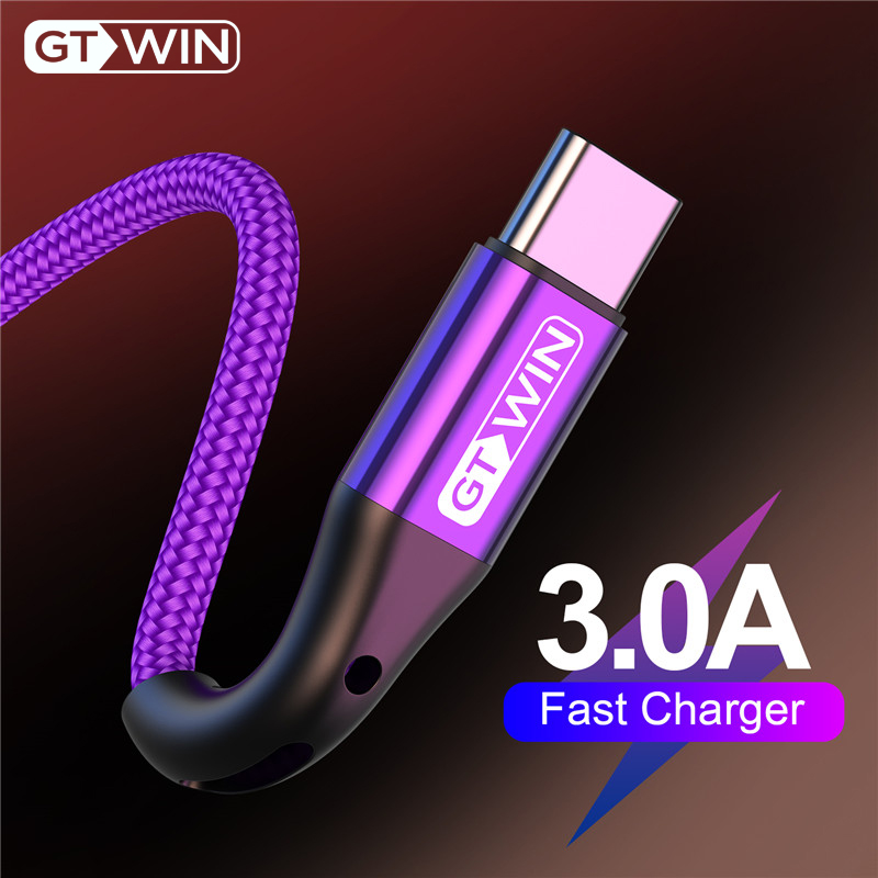 GTWIN USB Type C Cable For Xiaomi Redmi Note 7 3A Fast Charging Data Cable For Samsung Huawei USB C Cord Mobile Phone Charger