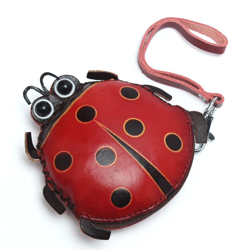 Genuine Leather Handmade Tanned Leather Animal Purse Fashion Cute Coin Carrying WOMEN'S Bag Cartoon Ladybug Wallet