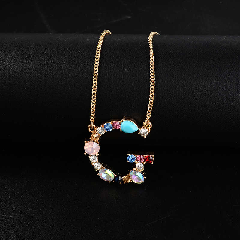 Multi-color Crystal Charm Necklace Silver / Gold 26 Alphabet Letter Pendant Necklace Women Letter Necklaces Drop Shipping