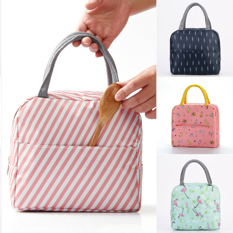Lunch Bag Waterproof Portable Thermal Cooler Insulated Striped Print Oxford Outdoor Box Storage Picnic Bag Pouch