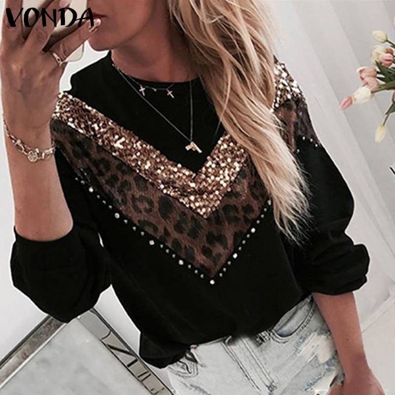 Autumn Long Sleeve Knitted Sweater Women Knitwear Pullover Plus Size VONDA 2020 Female Leopard Patchwork Blouse Ladies Sweater