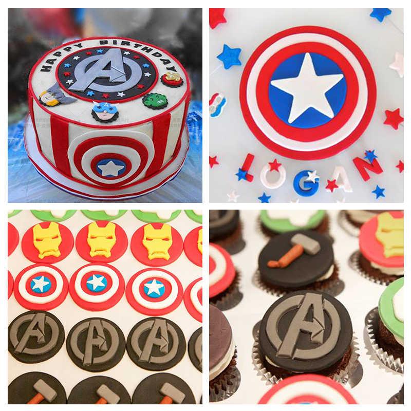 6pcs Super Hero Plastic Cupcake Mold Fondant Cookie Cutter Cake Decorating Mould