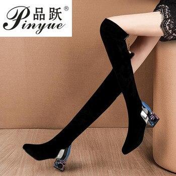 2020, botas informales sobre la rodilla para Mujer, zapatos de invierno para Mujer, zapatos de tacón alto con punta redonda, botas de nieve cálidas para Mujer 35-39