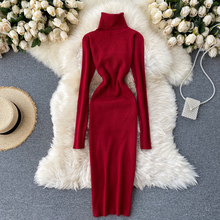 Teeuiear Slim turtleneck Autumn Bodycon Knitted Sweater midi Dress casual Winter Party stretch Women warm knee length dress