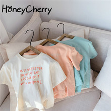 2020 Summer girl t-shirt New Candy-Colored Letters Short-Sleeved T-shirt little girls clothing