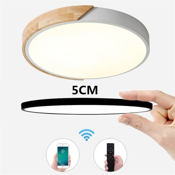 Creative Mount Flush Round LED Ceiling Light Modern Untra-thin 5cm Square Solid Wood Lamp For Living Room Bedroom Foyer