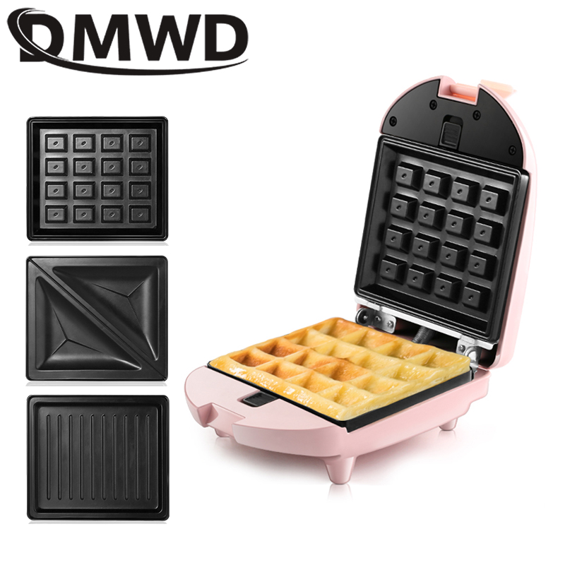DMWD Mini Sandwich Maker Electric Waffle Iron Machine Panini Baking Cake Oven Bread Muffin Breakfast Toaster 3 Optional Plate EU