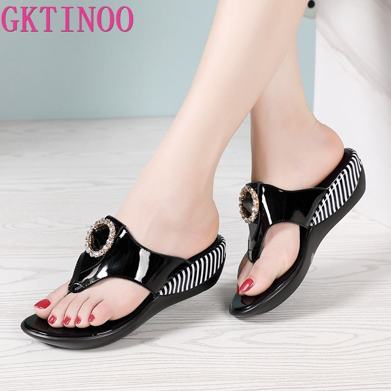 GKTINOO Women Shoes Summer Genuine Leather Beach Sandals Wedge Platform Slippers Flip Flops For Women Platform Slippers