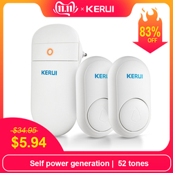 KERUI M518 Wireless Doorbell Self power generation Home Security Welcome Smart Chimes Door bell LED light 52 Songs with  Button