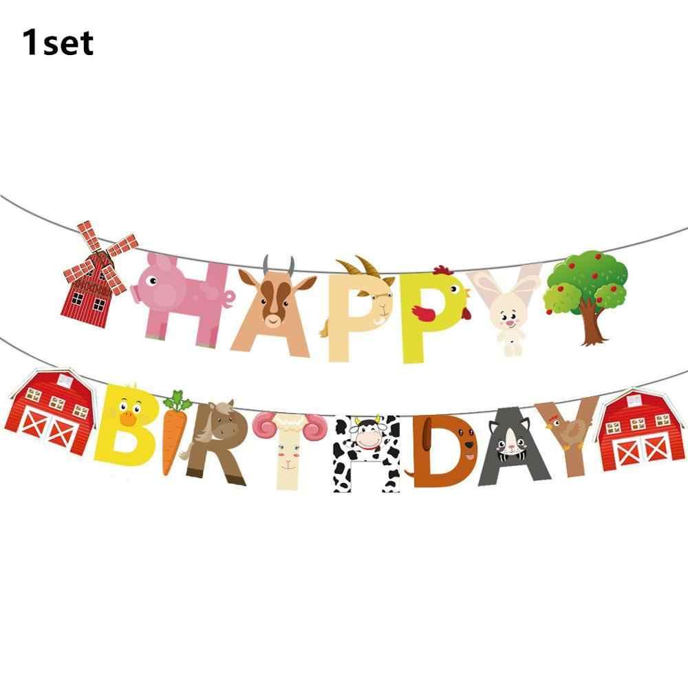 Zwierzęta gospodarskie motyw dekoracja urodzinowa dzieci papierowe serwetki talerze kubki torby jednorazowe imprezowa zastawa stołowa płytki dekoracyjne