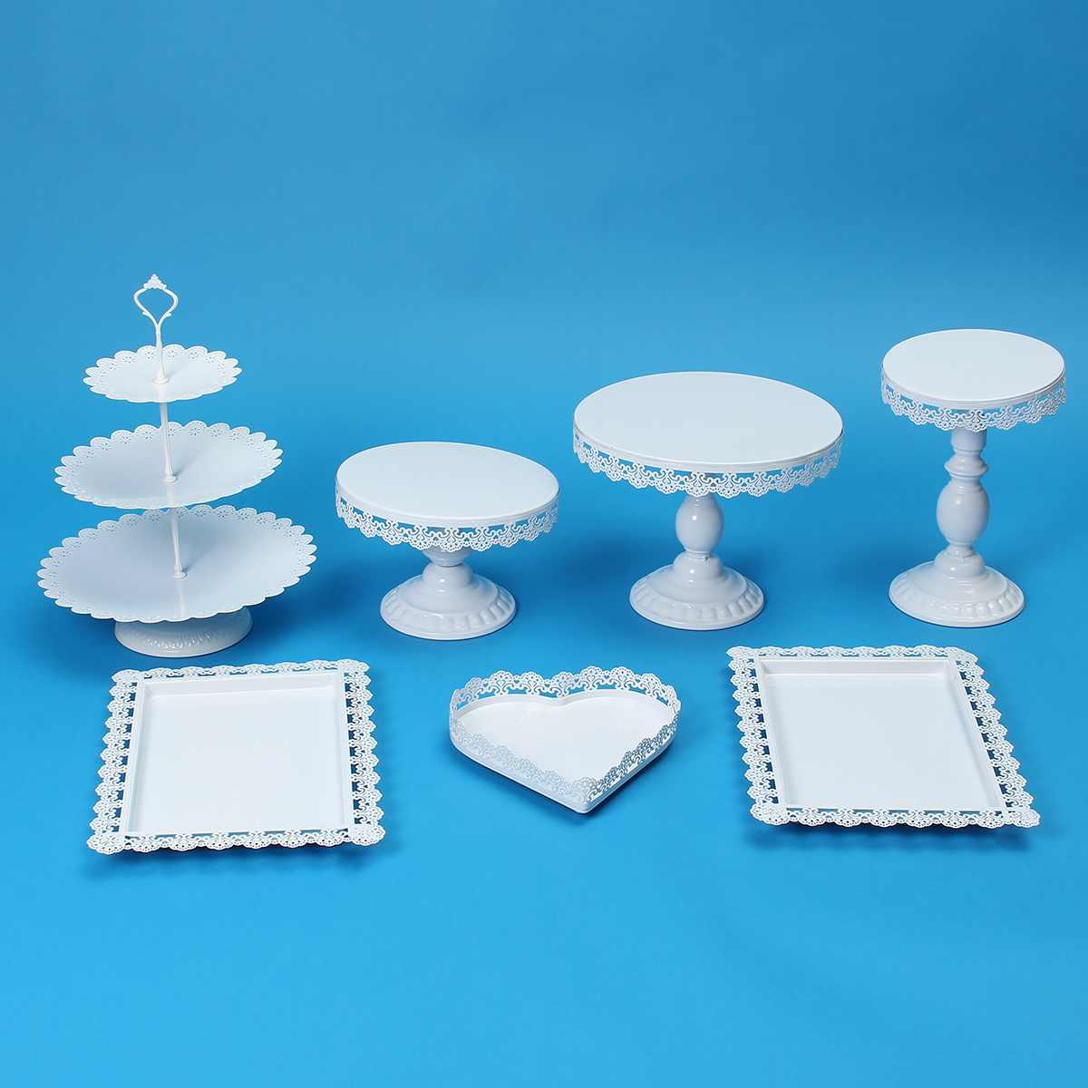 7 Piece Gold White Cake Stand Set Round Metal Crystal Cupcake Dessert Display Pedestal Wedding Party Display