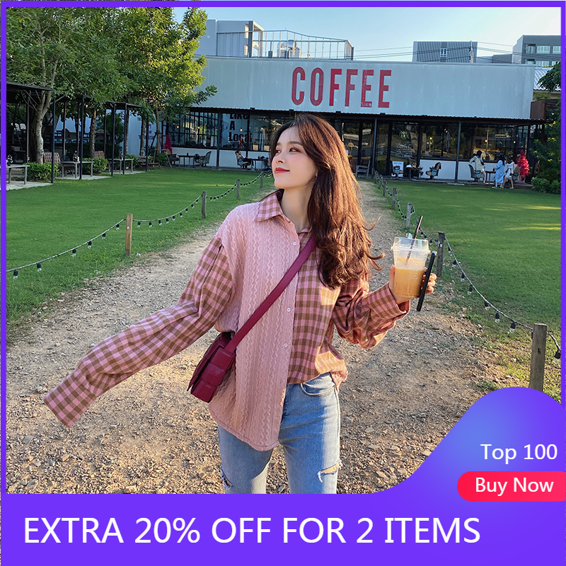 MISHOW Women Blouse Spring Loose Plaid Pink Casual Shirts  Knit Patchwork Female Clothes MX20A4126