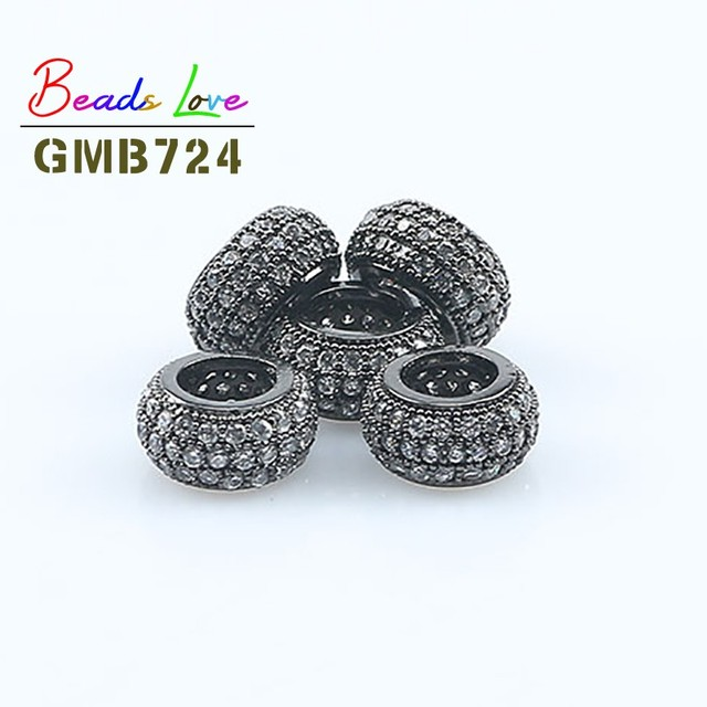 Cubic Zirconia Pave Bead Rhodium Gunmetal  For Jewelry Design /& Jewelry making Multi Size CZ Micro Pave Charm or Bracelet Pendant Spacer