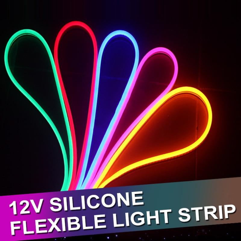1/2/3/4/5M Dimmable LED Neon Strip Light DC 12V Flexible LED Strip Neon Rubber Waterproof Bar Light Round Led Neon Flex String