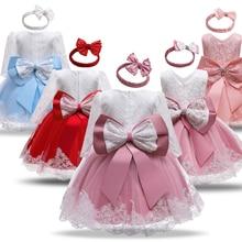 Vestido de princesa de encaje para niña, traje de manga larga con lazo, primer traje de fiesta de Navidad para niño pequeño
