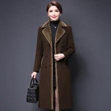 Женское шерстяное двубортное приталенное пальто средней длины