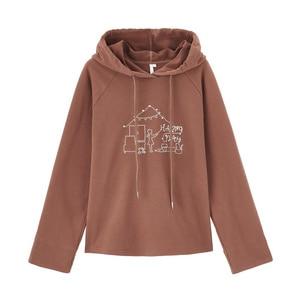 Image 5 - INMAN Winter Hooded Drawstring Embroidered Long Sleeve Hemming Loose All match Sweatshirt