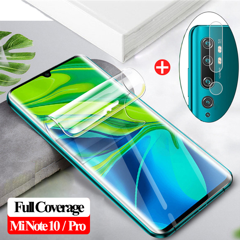 2-in-1 Soft Camera Glass For Xiaomi Mi10 Mi-note-10-pro Full Cover Hydrogel Film Mi10 Note Pro Xiomi Note 10 Screen Protector