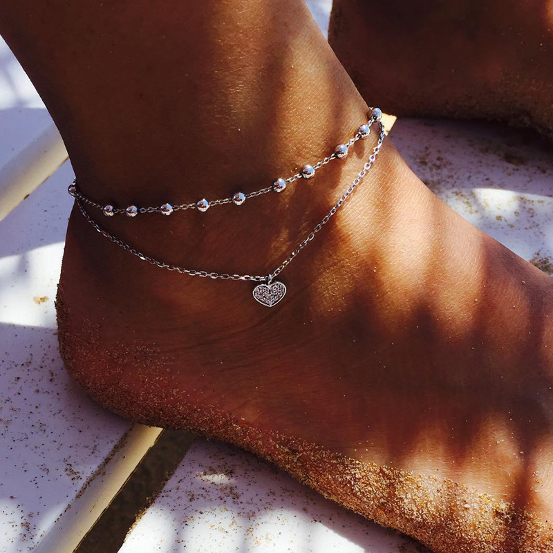 Heart Ankle Bracelet Crystal Zircon Anklet Leg Bracelet Silver Color Barefoot Beach Accessories For women Jewelry Gift Wholesale