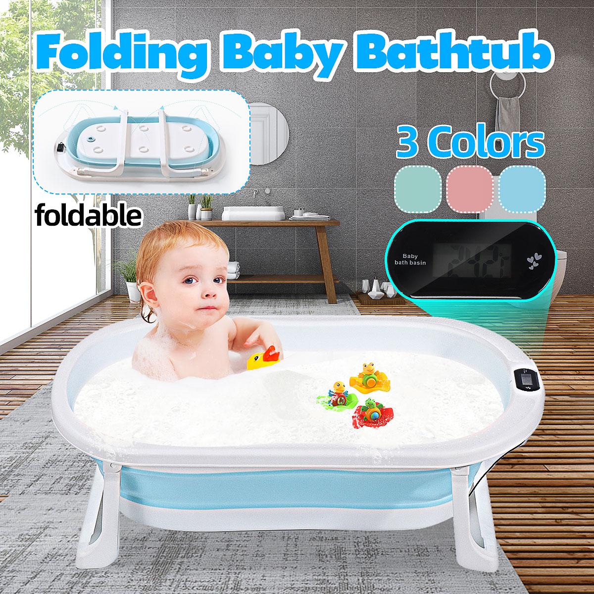 Dobrável banheira crianças deitado temperatura eletrônica universal tambor de banho oversize bebê recém-nascido suprimentos banheira do bebê