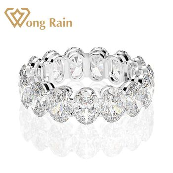 Wong Rain 925 Sterling Silver Oval Created Moissanite Gemstone Engagement Party Cluster Ring Wedding Band Fine Jewelry Wholesale