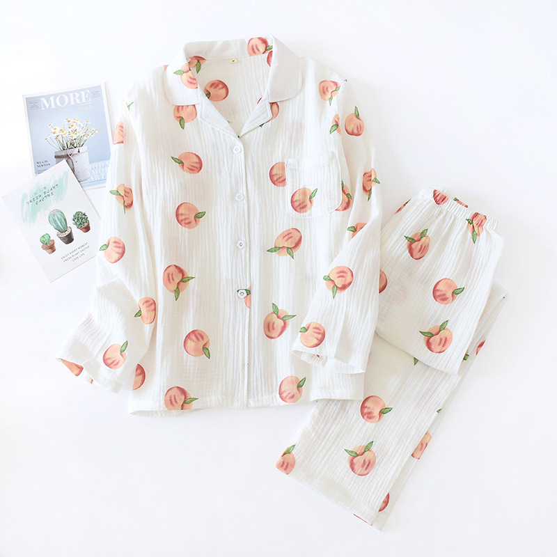 Pajamas Women's Spring&Autumn Cotton Gauze Cardigan 2PCS Sleepwear Printed Peaches Thin Long Sleeve Soft Home Clothing Suit
