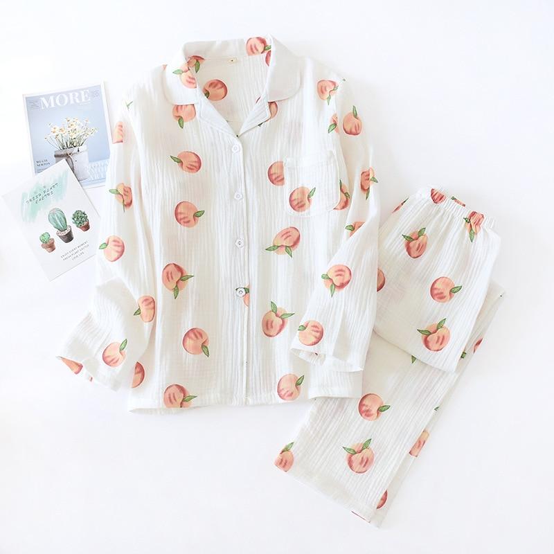 Pajamas Women's Spring&Autumn Cotton Gauze Cardigan 2PCS Sleepwear Printed Peaches Thin Long Sleeve Soft Home Clothing Suit