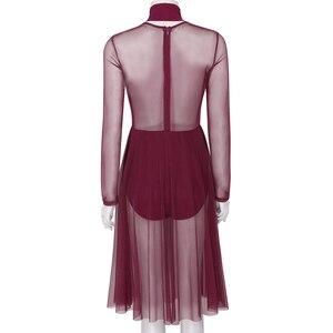 Image 4 - נשים הלטר ארוך שרוולים לראות דרך Sheer רשת בלט שמלת ריקוד התעמלות בגד גוף למבוגרים עכשווי לירי ריקוד תלבושות