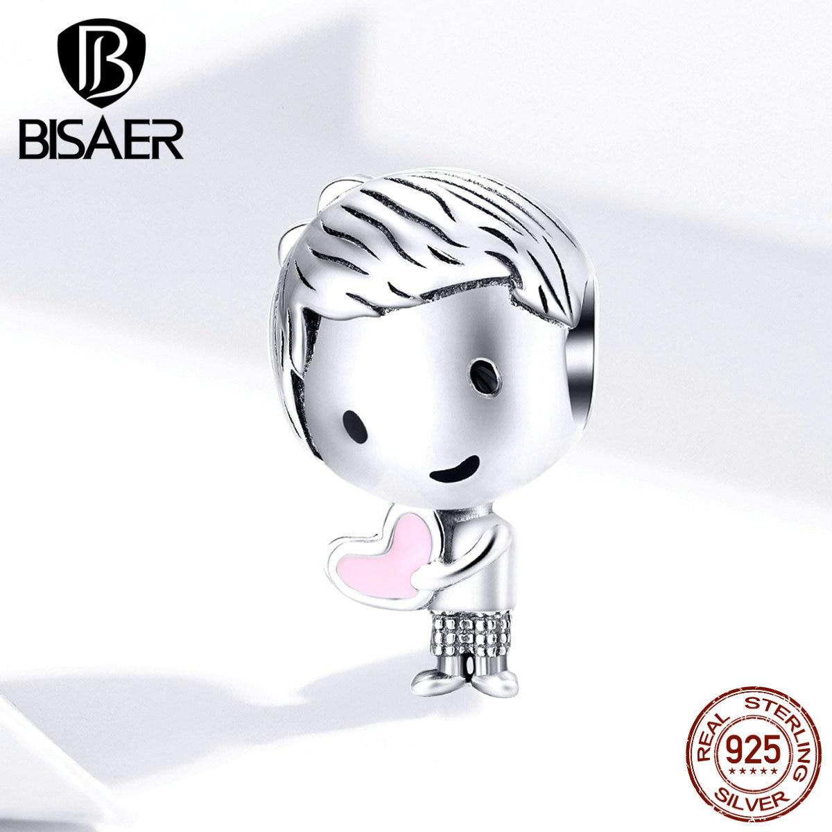 Little Boy BISAER 925 Sterling Silver Little Boys Beads Charms Fit Children Girls Bracelets Silver 925 Jewelry ECC1334