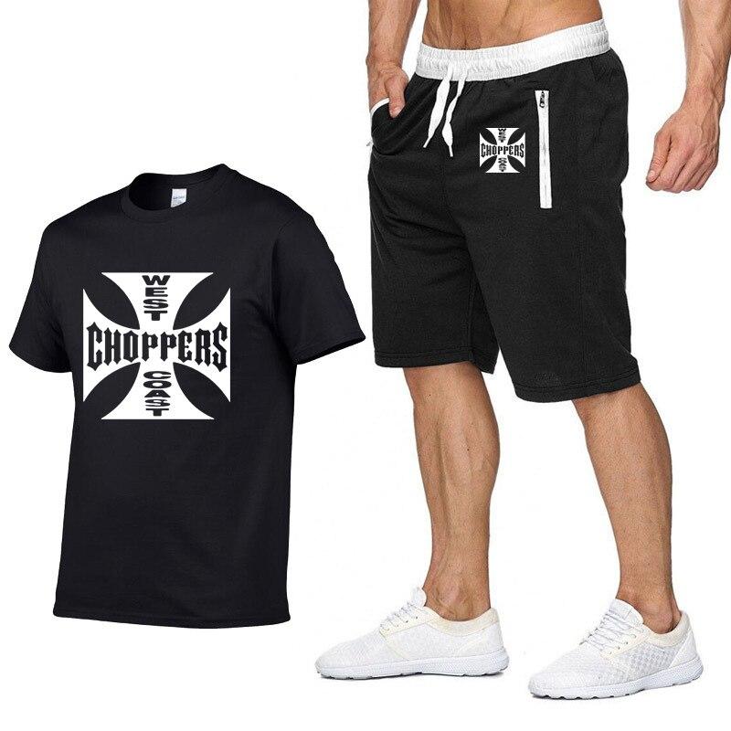 Rock Music West Coast Choppers Printed T Shirt Men Summer Fashion Cotton Hip Hop Harajuku Short Sleeve Men T-shirt+pants Suit