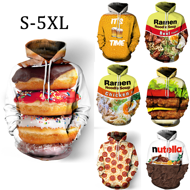 Men 3D Print Hoodies Winter Funny Burger Nutella Donut Food Mens Sweatshirt Women Plus Size Unisex Male Streetwear Pullovers