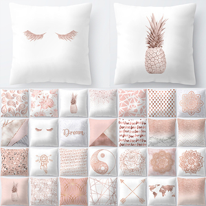 45x45cm Modern Minimalist Rose Gold Powder Fashion Pillowcase Pink Alphabet Geometric Design Decorative Sofa Cushion Cover(China)
