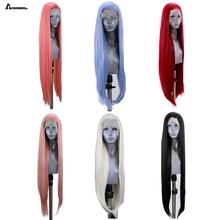 Anogol клубника пастельно-Розовый Высокая температура волокна длинные натуральные прямые синтетические парики на кружеве для белых женщин