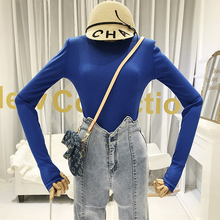 Long Sleeve T Shirt Women Sexy & Club Solid O-Neck Korean Fashionable Clothes Slim Tee Femme Fashion T-shirts 2019
