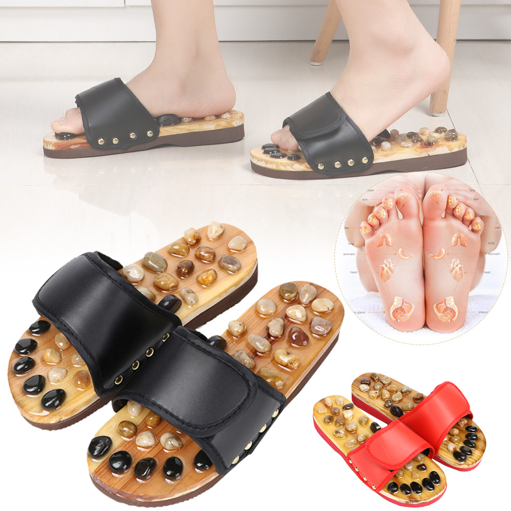 Pebble Stone Foot Massage Slippers Reflexology Feet Elderly Acupuncture Health Shoes Sandals Slippers Healthy Massager