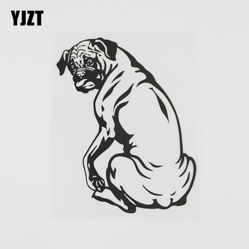 YJZT 11.1CMX14.4CM Cute Decor Boxer Dog Animal Decal Vinyl Car Sticker Black/Silver 8A-0537 image