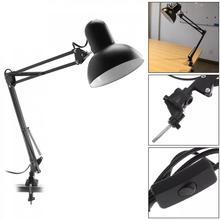 Lampa biurkowa do domu elastyczne ramię wahadłowe E27 lampka na biurko uchwyt z obrotowym stołem głowica reflektora i mocowanie zaciskowe wsparcie dla biura