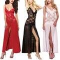 Соблазнительное женское нижнее белье 2 шт., комбинация, кружевная сетчатая длинная пижама, комплект для стрижки, без рукавов, однотонный под...