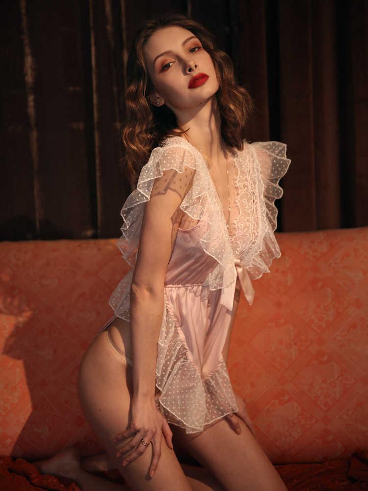 Seksi dantel yan pijama tulum Ruffled transparan iç çamaşırı şeffaf Bodysuit çiçek Catsuit vücut erotik gecelikler pijama