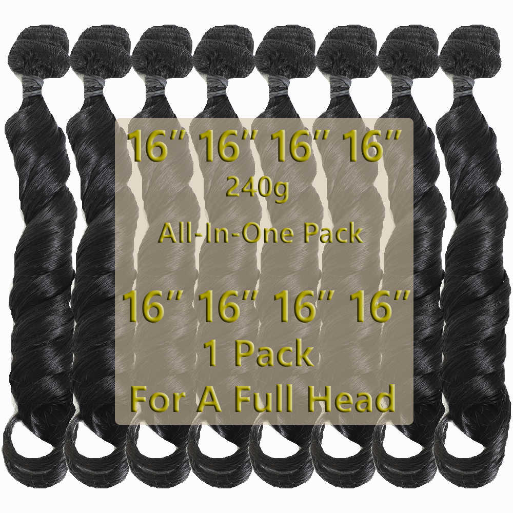 Synthetic Romance Curly Hair Extensions For Women High Temperature Synthetic Curly Hair Weaves 8 Bundles 240g All In One Pack