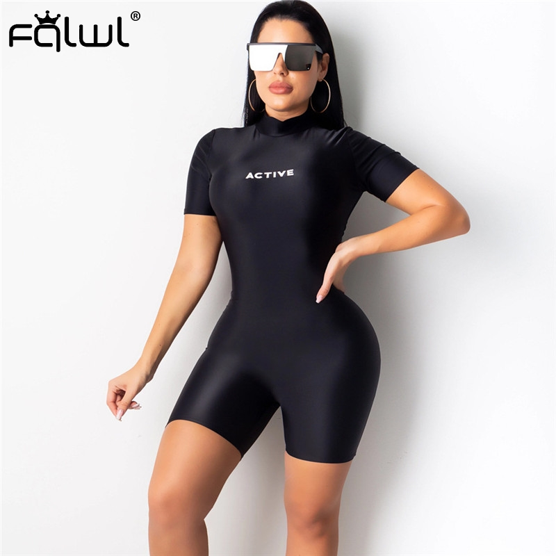 FQLWL Black Ladies Sexy Bodycon Jumpsuit Women Shorts Female Playsuit Letter Print Fitness Biker Summer Rompers Womens Jumpsuit
