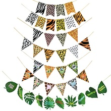 1Set Jungle Party Animal Paper Banner Wall Hanging Bunting Garland Safari Birthday Decoration for Kids Theme Decor