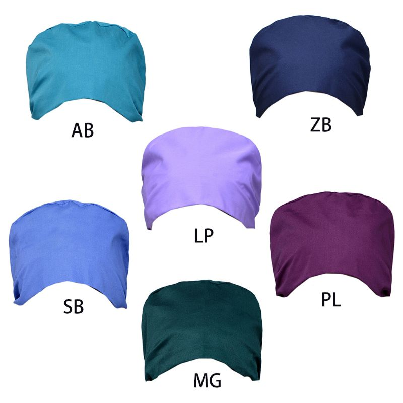 Solid Color Surgical Scrub Cap Adjustable Doctor Nurse Sweat Band Bouffant Hat K4UB