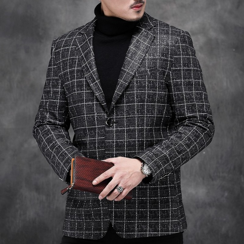 New Men Genuine Leather Short Coat Autumn Luxury Business Casual Blazer Oversize Long Sleeve Slim Plaid Suit Jacket Outwear