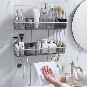 Image 3 - Punch free Bathroom Shelf Shampoo Cosmetic Towel Storage Rack Organizer Bath Corner Holder Household Items Bathroom Accessories