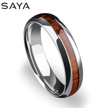 5mm Width Tungsten Wedding Rings, High Polished Inlay Wood for Men Women Dome Band, Engraving, Free Shipping