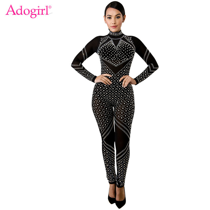 Adogirl Beaded Sheer Mesh Women Sexy Jumpsuit Mock Neck Long Sleeve Skinny Romper 2019 Autumn Winter Fashion Cheap Overalls