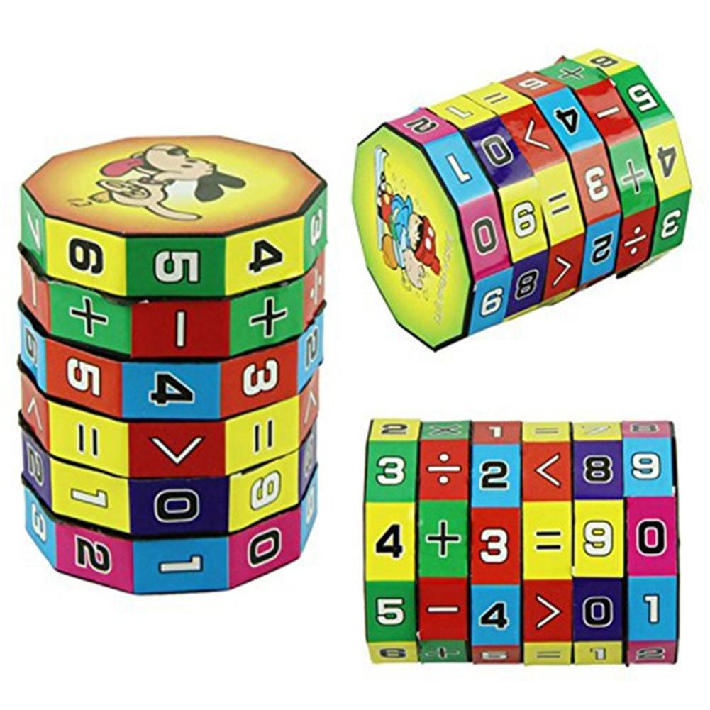 New Cylindrical Cube 6 Numbers Magic Cube Toy Puzzle Game Gift Stickers Numbers Magic Cube Assist For Children Learning Math Toy