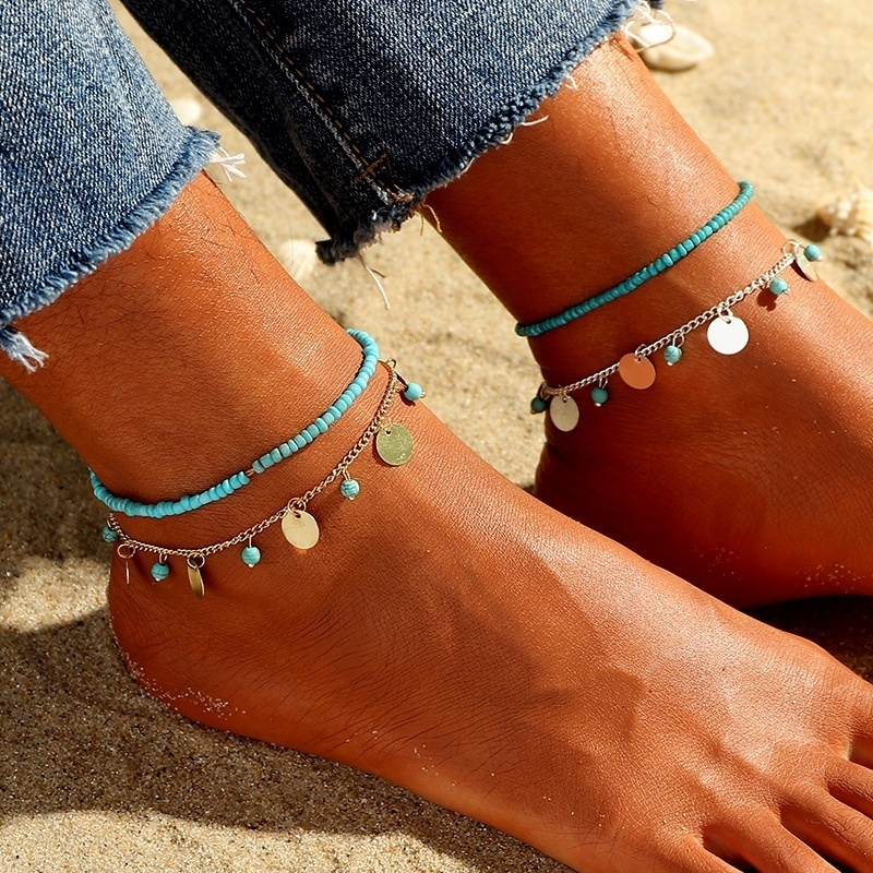 New Bohemia Summer fashion popular Gold simple Round Pendant Beads anklet female beach feet anklet Beach Jewelry Tassels Anklets