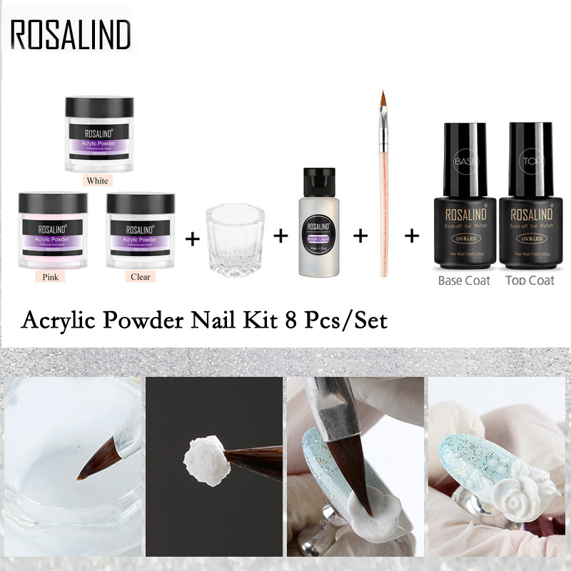 ROSALIND Acrylic Nail Kit For Nail Art Design 10g Powder Extension Carved For Manicure Set Gel Nail Polish Set Top And Base